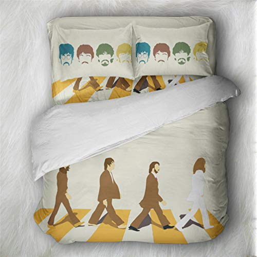 LanS The Beatles Elvis Rock Music Series Bedding Set,Duvet Cover and Pillowcase, Bedroom Three-Piece Bedding (Duvet Cover + 2 Pillowcases) Prevent Moisture, Hypoallergenic, Twin, Full, King Bed