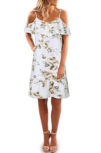 Blanco Estampado vestido verano floral vestido mujer Vestido mini hombros Vestido sin mujer de de Aking qOX6dxwq