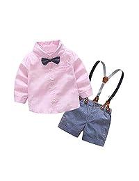GorNorriss Baby Set Infant Suit Bow Tie Shirt Suspenders Shorts Pants Outfit