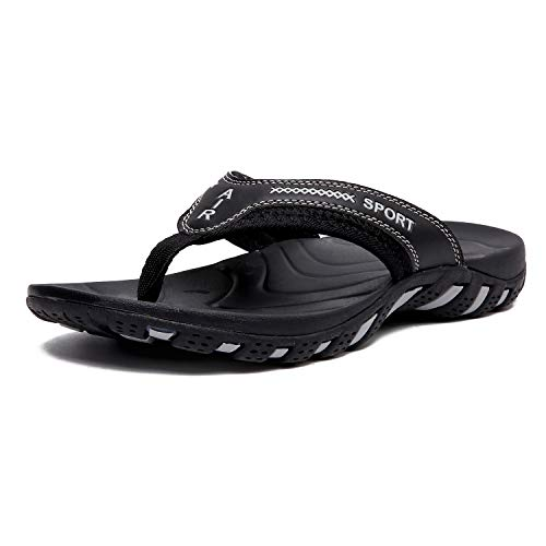 TUOBUQU Mens Flip Flops Orthotic Thong Sandals with Arch Support Black 42