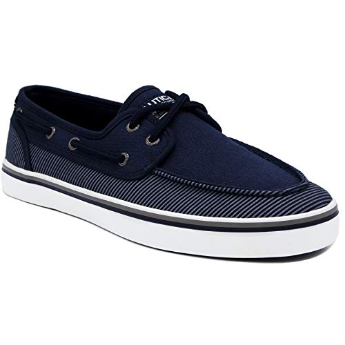 Nautica Men's Spinnaker Lace-Up Boat Shoe, Casual Loafer, Fashion Sneaker-True Navy Stripe 1-9