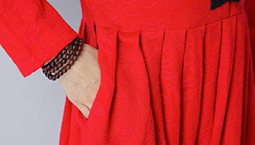 Stand Big Red Coolred CollarLong Swing Style Ethnic Up Dress Drape Women aqRH4a