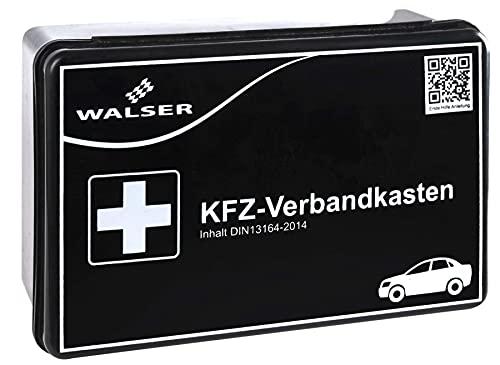WALSER 44262 Eerstehulpset auto zwart volgens DIN 13164, eerstehulpset auto, eerstehulptas