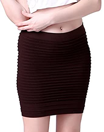 HDE Women's Candy Color Ribbed Stretch Slim Fit Mini Tube Bodycon Bandage Skirt (Brown)