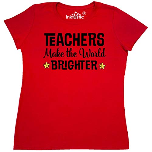 inktastic - Teachers Make The World Brighter Women's T-Shirt XX-Large Red 31cd9