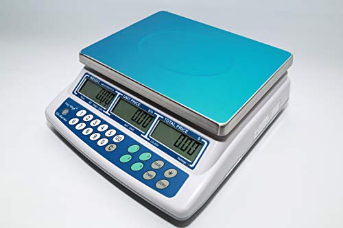 Easy Weigh CK-60 Digital Price Computing Scale Rechargeable Battery Operated, NTEP Approval Class III, LCD Display, Portable Compact, Stainless Steel Platter, (60 x 0.01lb)