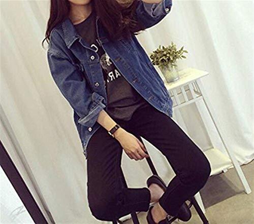 Fashion Outerwear Jacket Vintage Manica Elegante Primaverile Jeans Donna Blu Tasche Con Style Autunno Button Festa Ragazze Giacca Moda Lunga Di Casuali Denim Cappotto Giaccone 14wqt5x