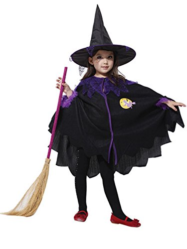 Genluna Girl's Halloween Concepts Witch Cosplay Costume Large Black (Witch Girl Costume)