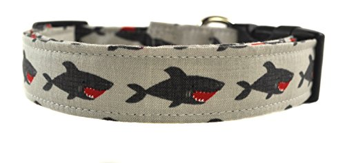 Shark Dog Collar - The Sharks in Grey by Collars by Design