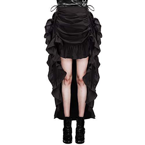 Black Steampunk Gothic Skirt for Women Renaissance Burlesque Skirt S Black]()