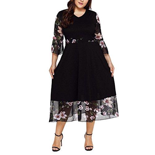 HODOD Women's Midi Dresses V Neck Wrap Chiffon Floral Long Sleeve Plus Size Prom Dress -