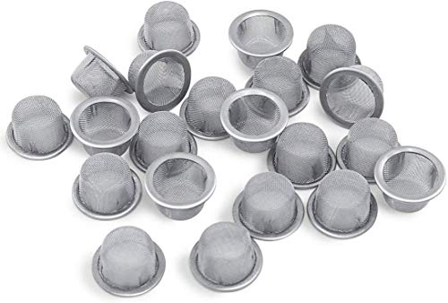 20pcs 0.5inch Diameter Crystal Smoking Pipe Stainless Steel Metal Screen Filter for Crystal Quartz Tobacco Pipe use