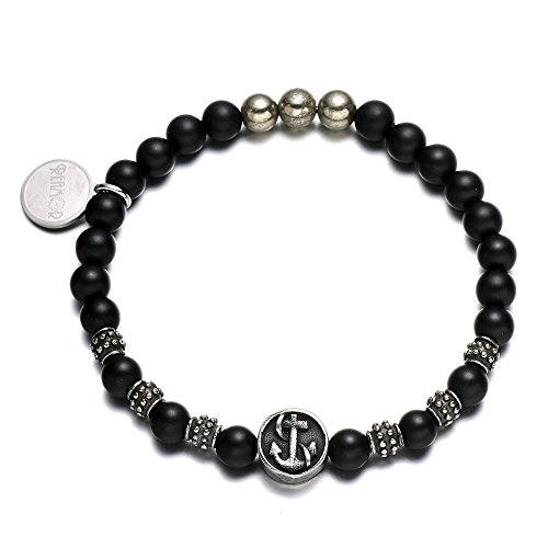 REAMOR 6mm Black Matte Agate & Iron Pyrite Stone Stainless Steel Antique Anchor Bead Stretch Balance Bracelets