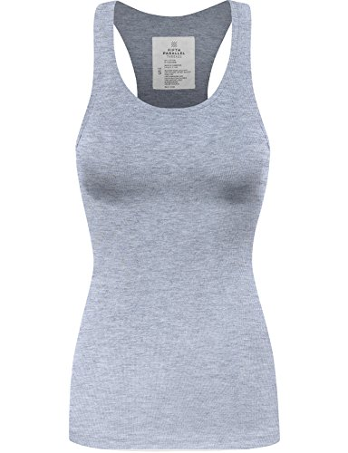 FPT Womens Basic Ribbed Racerback Tank Top HEATHER GRAY SMALL