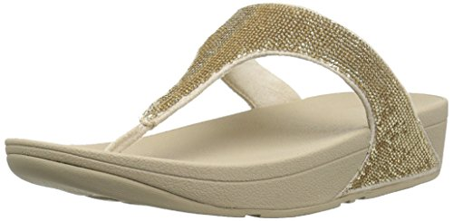 FitFlop Women's Electra Micro Toe-Post Sandal, Pale Gold, 7 M US (Fitflop Electra Classic Sequin Flip Flop Sandal)