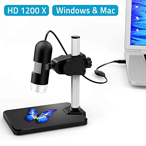 Ocamo Microscopio Digital USB 1 a 1200X Ampliación Endoscopio 5X Zoom Mini Cámara de inspección para Win7 / 8/10, Linux y...