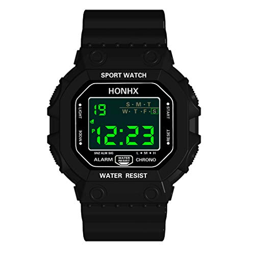 Saying Men Waterproof Watches Luxury LED Watch Outdoor Sports Watch Analog Digital Military Sport LED Wrist Bracelets Adjustable Alarm Clock Classic Digital Chrono Alarm Timer Watch (Black)