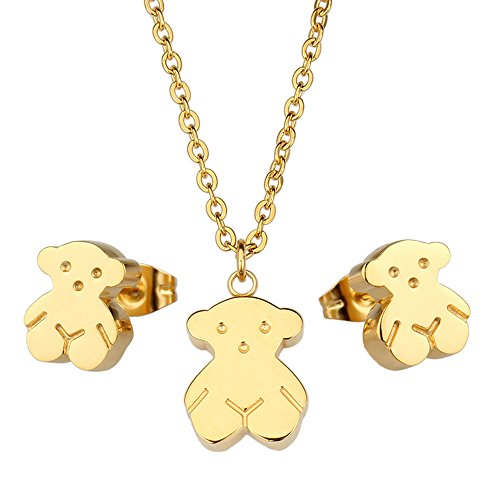 - 3 Sets Pendant and Earrings Titanium Stainless Steel 18K Gold Plated Cute Bear Design Women Jewelry Wedding Princess Graduation Gifts
