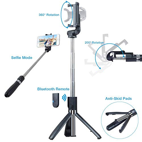 US1984 Selfie Stick | Bluetooth Extendable Selfie Stick with Tripod Stand | Detachable Wireless Bluetooth Remote Selfie Stick for Mobile and All Smart Phones (Black)