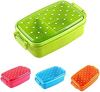 Portable Polka Dot Lunch Box Kids School Food Container