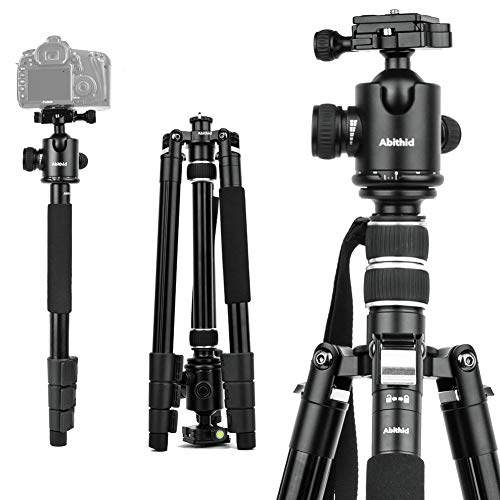 "Travel Camera Tripod, Abithid 65"" Portable and Compact Aluminum DSLR Monopod Tripod with 360°Panorama 36 mm Ball Head 1/4 Quick Release Plate for Travel and Work"