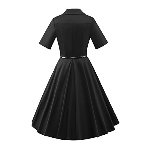 LUOUSE - Vestido - Manga corta - para mujer V113-Black