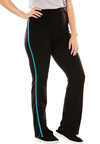 Woman Within Women's Plus Size Stretch Bootcut Yoga Pants With Side Stripes Black - Side Women Cut For