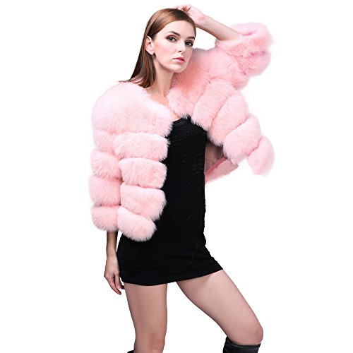 BOOMJIU Women Winter Mink Coats Pink Faux Fur Coat Elegant Thick Warm Outerwear Jacket Long Sleeve Cardigans ()