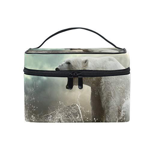 Makeup Bag Cosmetic Storage Bag White Polar Bear Animal Ice Portable -