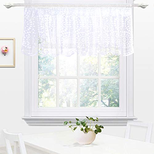 DOKOT Embroidery Semi Sheer Lace Curtain Valances for Kitchen, Cafe, Dining Room, 18