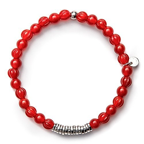 Tateossian Men's Disc/Round Beaded Bracelet - Red Carnelian