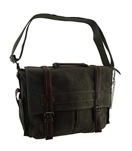 color Moontang Heavy Messenger Duty Olive Size Canvas Padded Laptop Green Bag PrxFzEwP