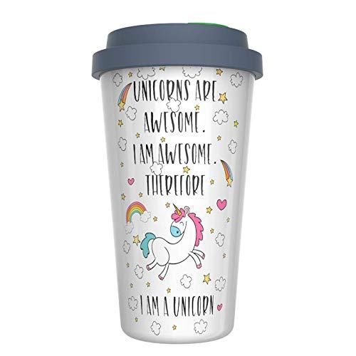(Ceramic Travel Coffee Mug with Lid (12 oz) - Unicorns Are Awesome - I am Awesome - Therefore I Am A Unicorn - Funny Coffee Mug - Double Wall Ceramic - BPA-Free Lid - Dishwasher Safe. 5.6