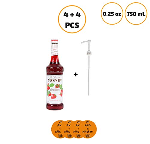 Monin 750 mL Premium Strawberry Flavoring Syrup (4 pcs) with Monin .25 oz. Syrup Pump (4 pcs) - w/coasters ()