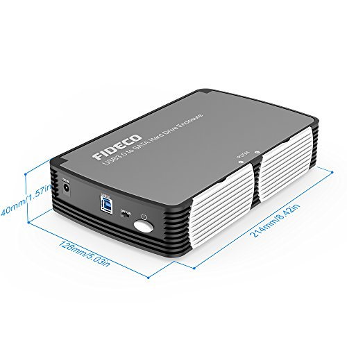 FIDECO 3.5'' Hard Drive Enclosure, USB 3.0 to SATA Aluminium External Hard HDD Case with Built-in Cooling Fan Support UASP and 10TB Drives for 3.5/2.5 Inch HDD SSD Tool-Free (3.5 Hard Drive Enclosure) by FIDECO (Image #5)