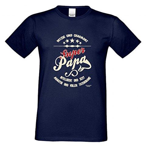 T-Shirt als Geschenk für den Vater - Anmutig voller Tatendrang - Ein Danke für den Super Papa mit Humor zum Vatertag oder einfach so, Größe XXL Farbe 05-Navy