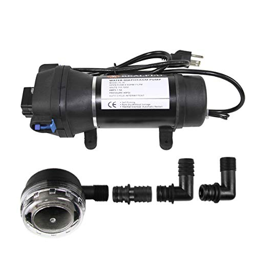 (AC110V Self Priming Water Pressure Diaphragm Pump - Soft & Noiseless 4.5GPM 17L/min 40Psi For Caravan/RV/Boat/Marine)