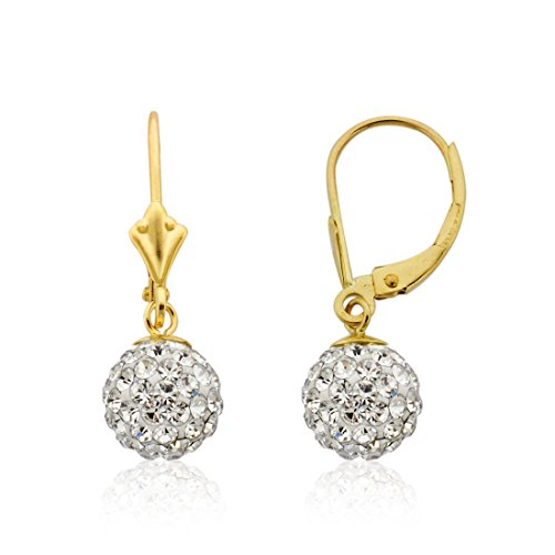 10k Gold 8m Clear Swarovski Crystal Dangle Ball Leverback Earrings 10k Leverback Earrings