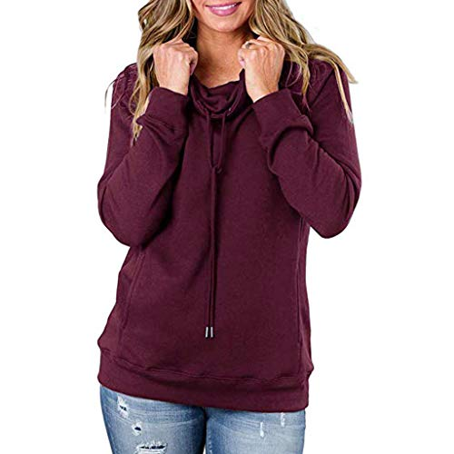 Women's Sweater Cowl Neck Hoodies Long Sleeve Pullover Sweatshirt Kangaroo Pockets Wine Red