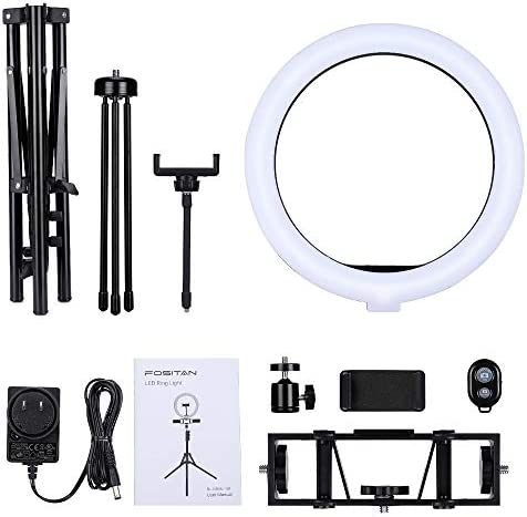 "12"" Ring Light with Stand,FOSITAN 【Upgraded】 RGB LED Ring Light with 3 Phone Holders,APP Control Light, Bluetooth Control,2600-20000K, 0%-100% Stepless Dimmable, for Makeup/TikTok/YouTube/Facebook"