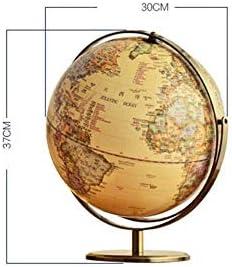 Roterende aarde, vintage wereldbol antieke decoratieve desktopbol aardrijkskunde-12 inch