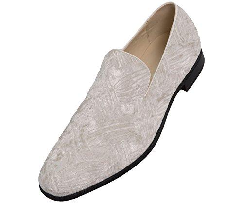 Bolano Mens Embossed Faux Velvet Dress Shoes, Comfortable and Easy Slip-On Design Style Saint