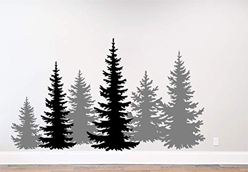 Pine Tree Branches Forest Winter Deer Silhouette Wall Decal Sticker Nature Woods Scene