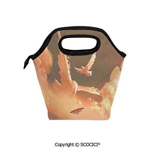 Picnic Food Insulated Cooler Tote Lunch Bag Phoenix Bird Shaped Fluffy Cloud in Sunset with Plane Freedom Paint Organizer Lunchbox for Women Men Kids. (Best Hamburger In Phoenix Area)