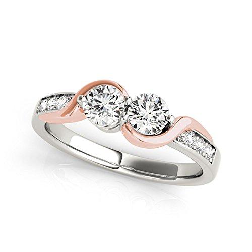 Two Stone 1 Ct 14K Rose & White Gold Diamond Ring