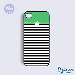 LJF phone case ipod touch 5 Tough Case - Green Black White Stripes iPhone Cover