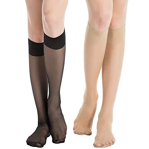 MANZI 12 pairs Knee High Pantyhose Hosiery for Women(6 pairs nude with 6 pairs black)