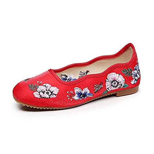cheap AvaCostume Women's Square Toe Flowers Embroidery Satin Cheongsam Shoes