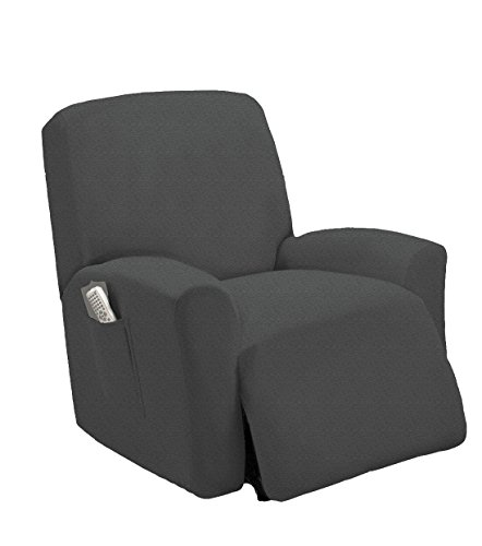 Goldenlinens One piece Stretch Recliner Chair Furniture Slipcovers with Remote Pocket Fit most Recliner Chairs (Gray) by Goldenlinens