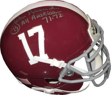John Hannah Autographed Signed Alabama Crimson Tide TB Schutt Authentic Mini Helmet #73 All American 71-72- JSA Authentic ()